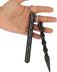 amathings 2-4 Stück Kubotan In 2 Verschiedenen Formen und Farben/Druckverstärker zur Selbstverteidigung als Schlüsselanhänger Mit Notfallhammer