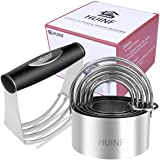 HUINF Pastry Cutter Set,Dough Blender and Round Biscuit Cutter Stainless Steel,Heavy Duty Pastry Blender,5 Circle Dough…