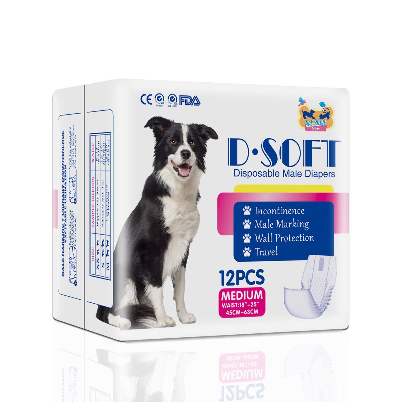 48 COUNT M Dsoft Pet Disposable Male Wrap Dog Disposable Diaper,12Pcs,XS-M (48 Count M)