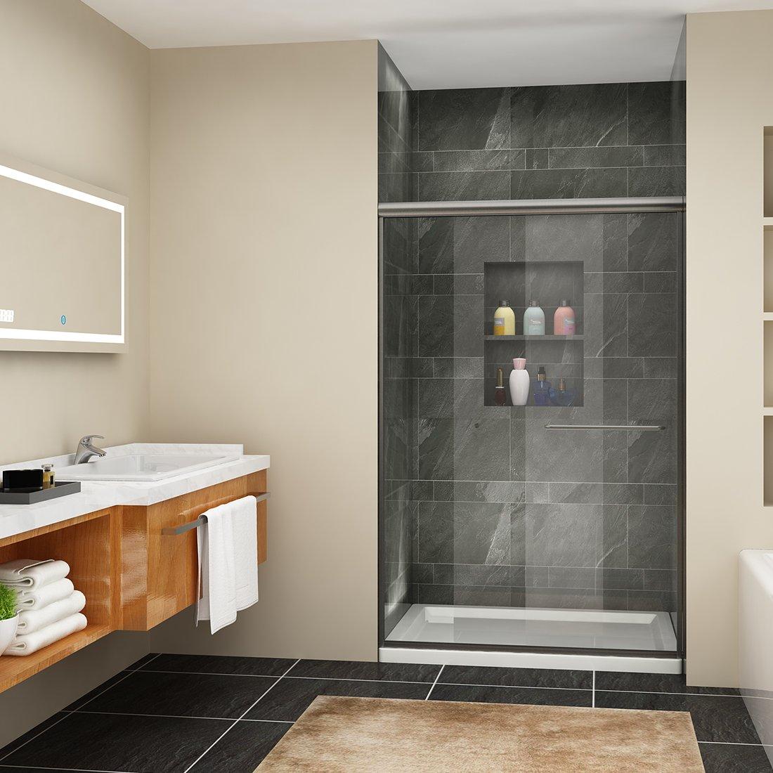 SUNNY SHOWER B020 Semi-Frameless Bypass Sliding Shower Doors, 44'' - 48'' W x 72'' H, 1/4'' Clear Glass, Brushed Nickel Finish