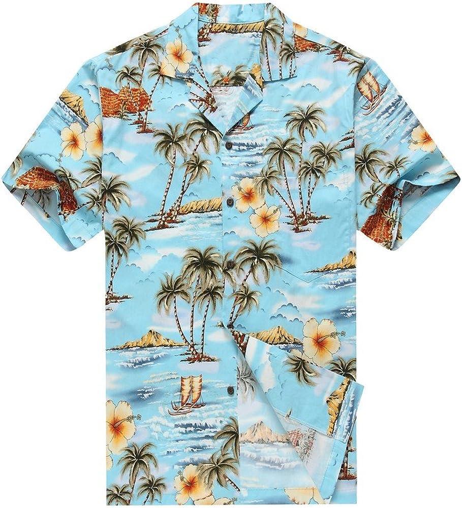 Hecho en Hawaii Camisa Hawaiana de los Hombres Camisa Hawaiana S Palmas Flores Casas en Azul: Amazon.es: Ropa y accesorios