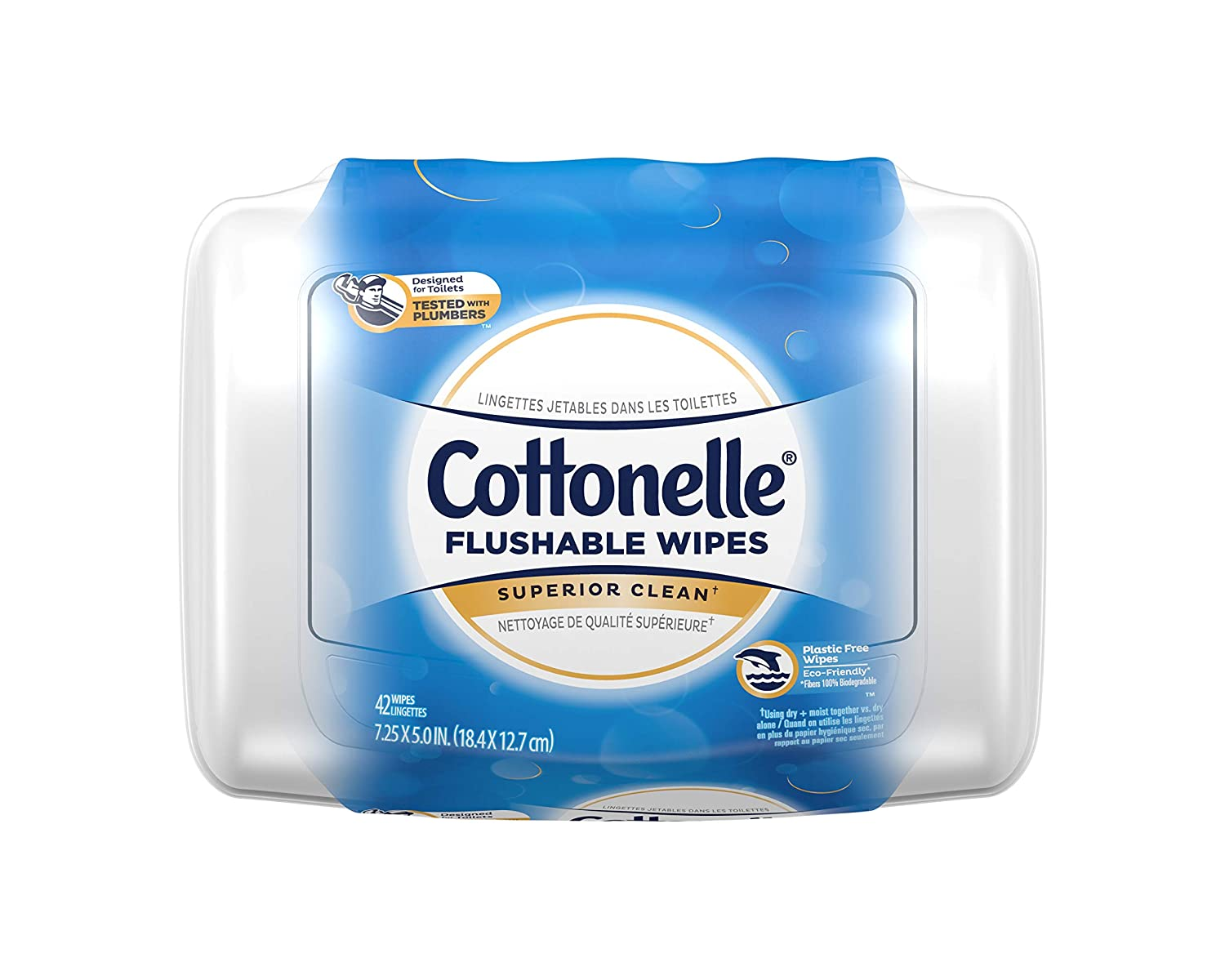 Cottonelle FreshCare Flushable Wipes for Adults, Wet Wipes, Alcohol Free, 1 Pack of 42 Wet Wipes