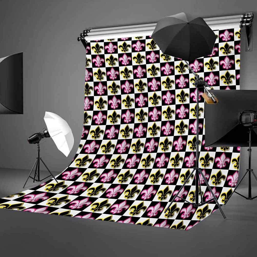 Fleur De Lis 10x15 FT Photo Backdrops,Antique Classical Foliage Leaf Motifs with Pop Art Influences Checkered Design Background for Photography Kids Adult Photo Booth Video Shoot Vinyl Studio Props