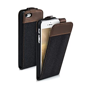 size 40 15b6a 10357 kwmobile Vertical Flip Case for Apple iPhone SE / 5 / 5S - PU Leather  Fabric Protective Flip Cover with Magnet - Anthracite/Brown