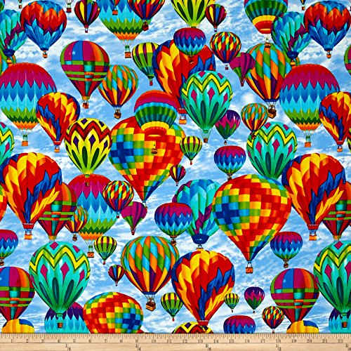- Timeless Treasures 0512486 Hot Air Balloons Sky Fabric by The Yard,