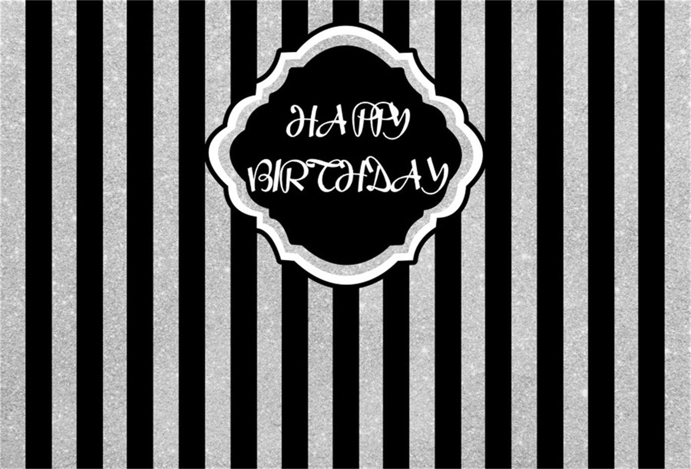 Csfoto 7x5ft happy birthday black and white vertical stripes background birthday party decoration photography backdrop photo studio props kid newborn