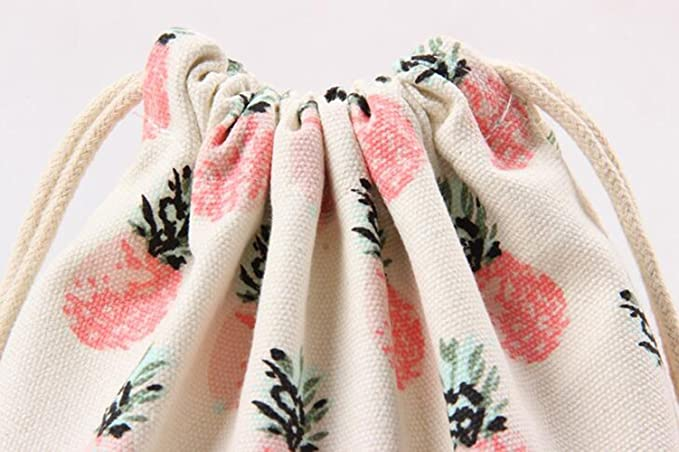 Riverer Gift Bags with Drawstring Packing Storage Linen Jewelry Pouches Sacks for Wedding Party 12 pcs Pineapple Pattern 9.8x12.6 Inches
