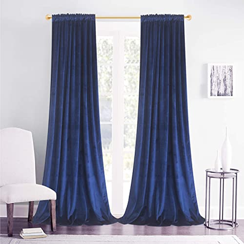 Roslynwood Navy Velvet Room Darkening Curtains for Living Room,Thermal Insulated with Rod Pocket Back Tab Window Curtain for Bedroom 2 Panels,52 W x 108 L