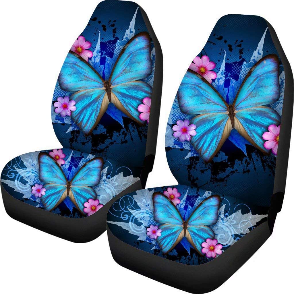 STUOARTE Sunflower Print Black Car Seat Covers Front Seats Only Saddle Blanket Vehicle Seat Protector Car Mat Covers for Women Universal Fit Most Cars,Sedan,SUV