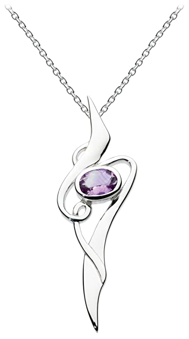 Heritage womens 925 sterling silver amethyst art nouveau pendant of heritage womens 925 sterling silver amethyst art nouveau pendant of length 457 cm mozeypictures