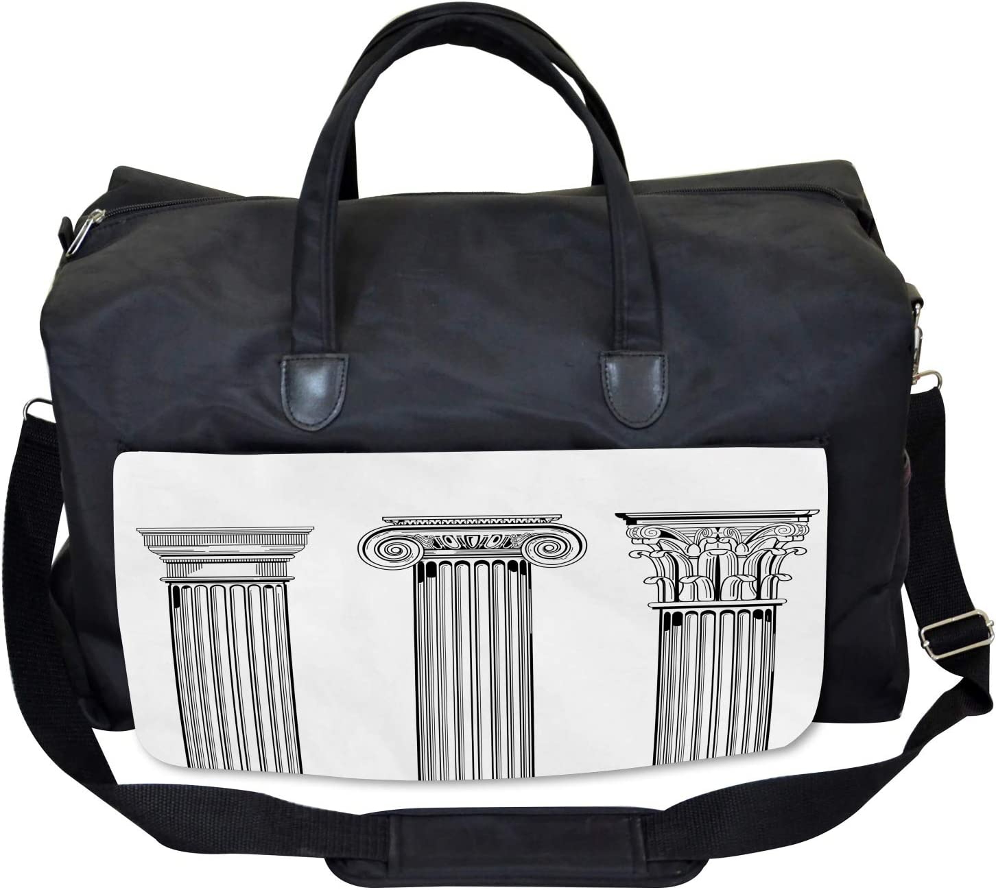 Ambesonne Ancient Gym Bag Large Weekender Carry-on Antique Column Capitals