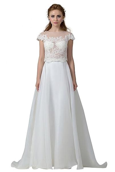 COCOMELODY - Vestido de novia - Manga corta - Mujer Marfil Marfil 58