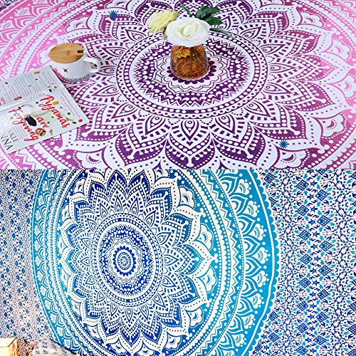 Folkulture Set of 2 Bohemian Mandala Tapestry Wall Hanging Hippie Indian Mandala Blanket Throw Table Cover or Tablecloth Beach Towel Boho Spread Meditation Yoga Mat Tapestry (2, Blue and Pink)