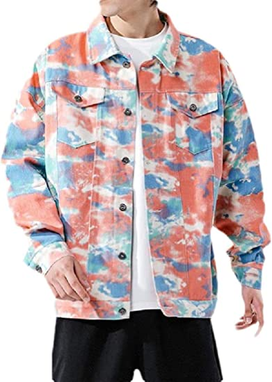 Mens Tie Dyed Loose Casual Button Down Hipster Denim Jacket Coat Outerwear