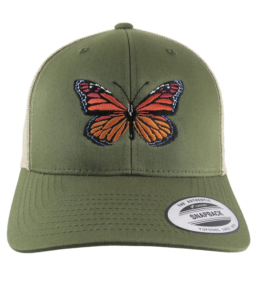 79d88ae57e0 Amazon.com  Monarch Butterfly Embroidery on an Adjustable Olive Green and  Tan Yupoong Structured Classic Trucker Style Snapback Ball Cap  Handmade
