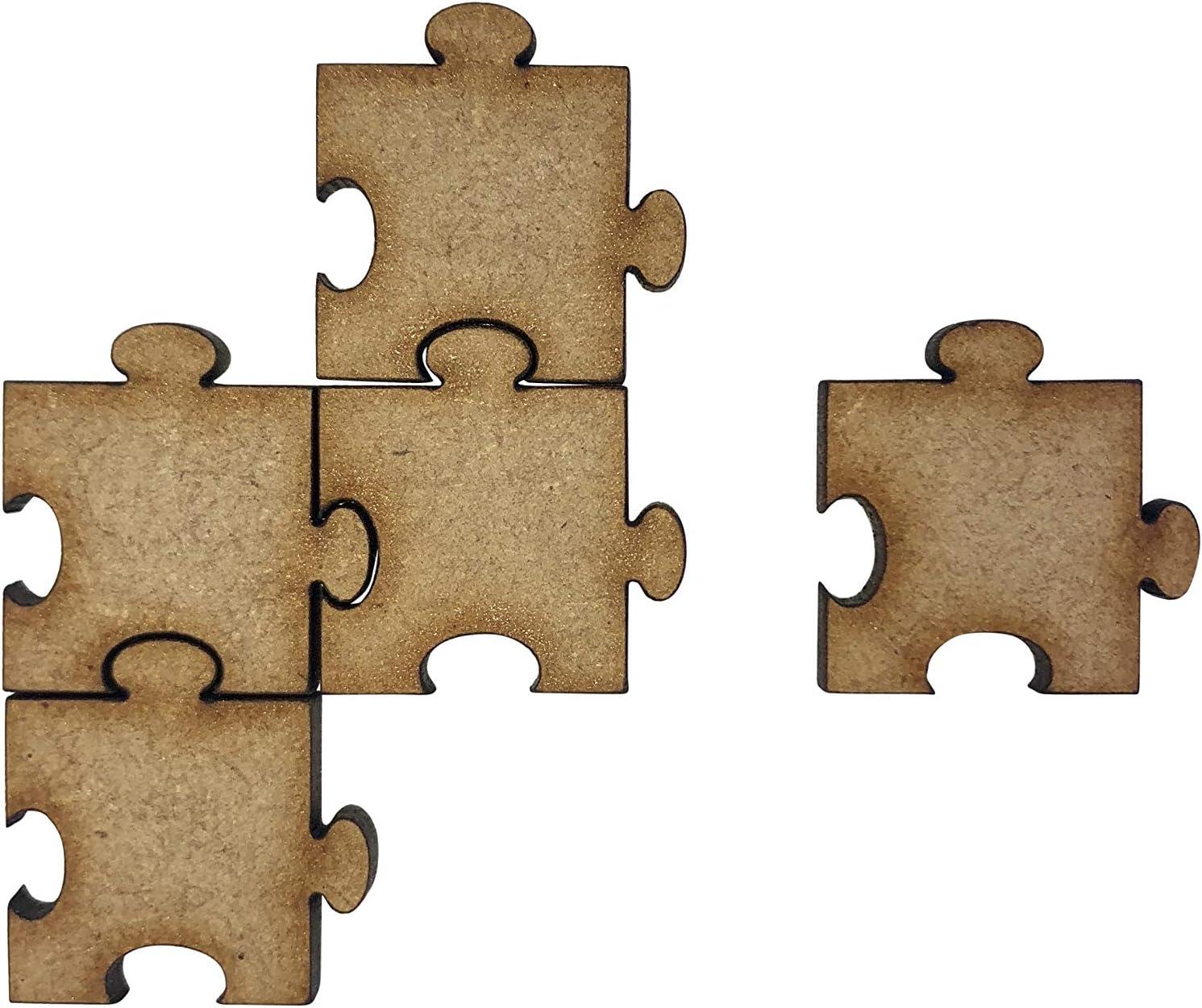 20x Jigsaw Pieces Plain 2cm Wood Craft