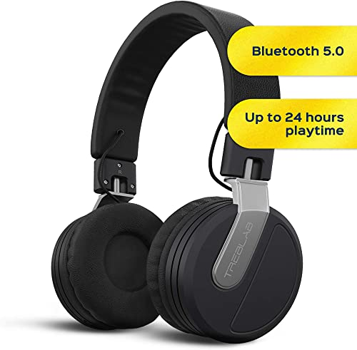 TREBLAB BT5 – Premium On-Ear Wireless Headphones – High-Intensity HD Sound w Bluetooth 5.0 Over-Ear Microphone, Waterproof IPX4 for Sports Workout, Travel, Work. 24H Play, Passive Noise Cancelling
