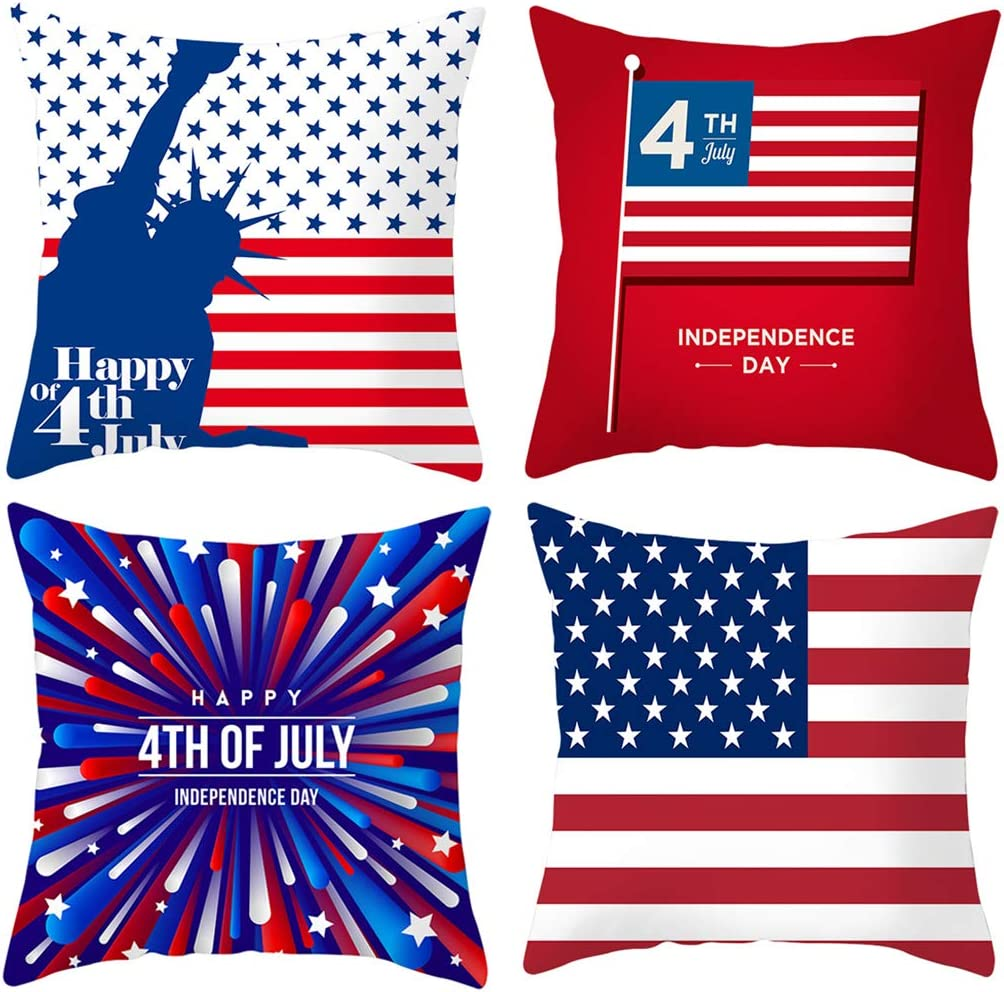 PTHAHNIL 4th of July Pillow Covers Set of 4 Independence Day Decor Pillowcase Decorative 18x18 for Home Car Decorative Peach Skin Material