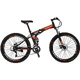 Eurobike G7 Mountain Bike 21 Speed Steel Frame 27.5 Inches Wheels Dual Suspension Folding Bike Blackorange