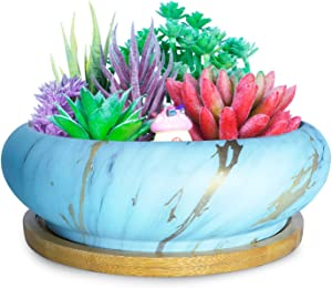 Artketty 7.3 Inch Large Ceramic Succulent Planter Pot, Modern Round Cactus Flower Planter Container Bowl with Drainage Bamboo Tray Decorative Garden Shallow Marble Bonsai Pot for Indoor/outdoor Plants