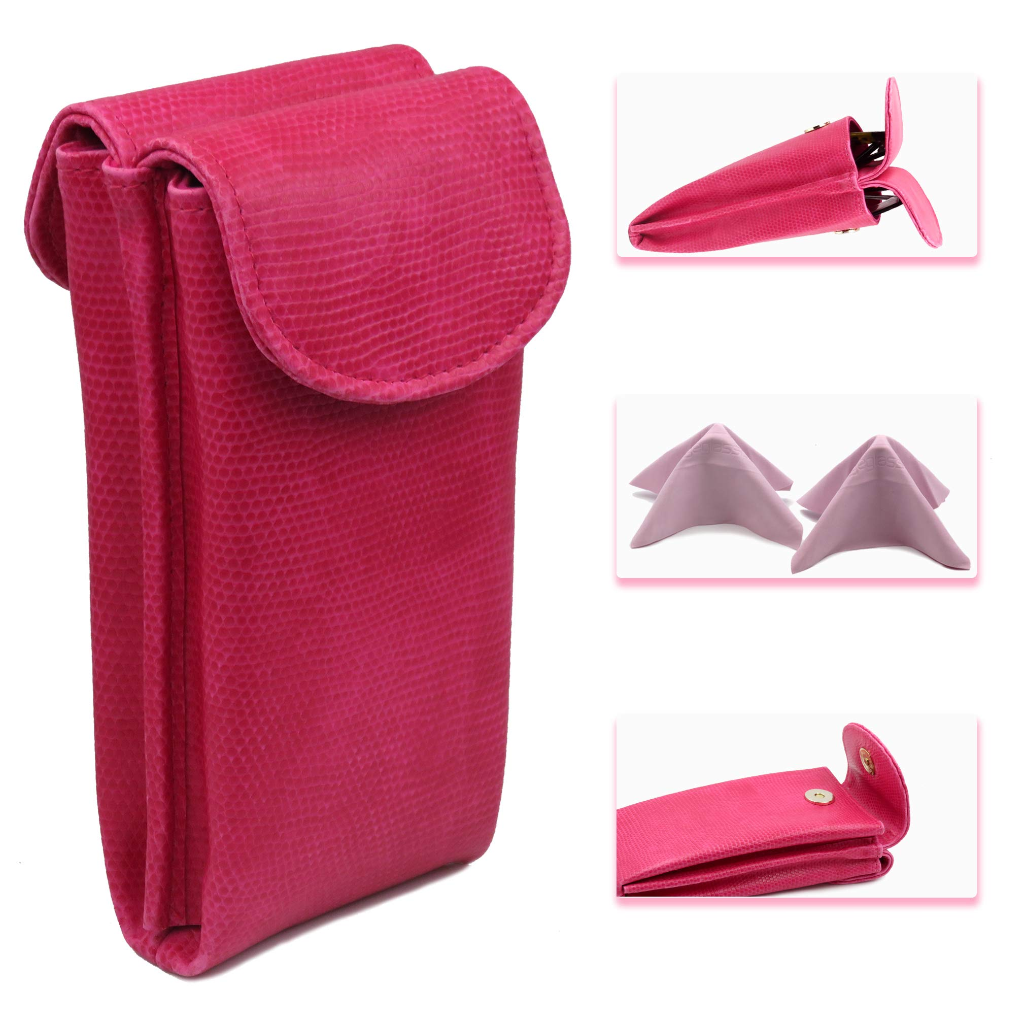 Pink Double Eyeglass Case for 2 frames | Soft Eyeglass case Semi Soft pouch with magnetic closure | comes with 2 microfiber cleaning cloths (IP836 Pink Snake)