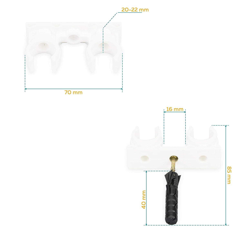 20-22 mm Doppel Rohrclip Clipser Rohrhalter 14-15//16-18//20-22//25-28 50 st/ück