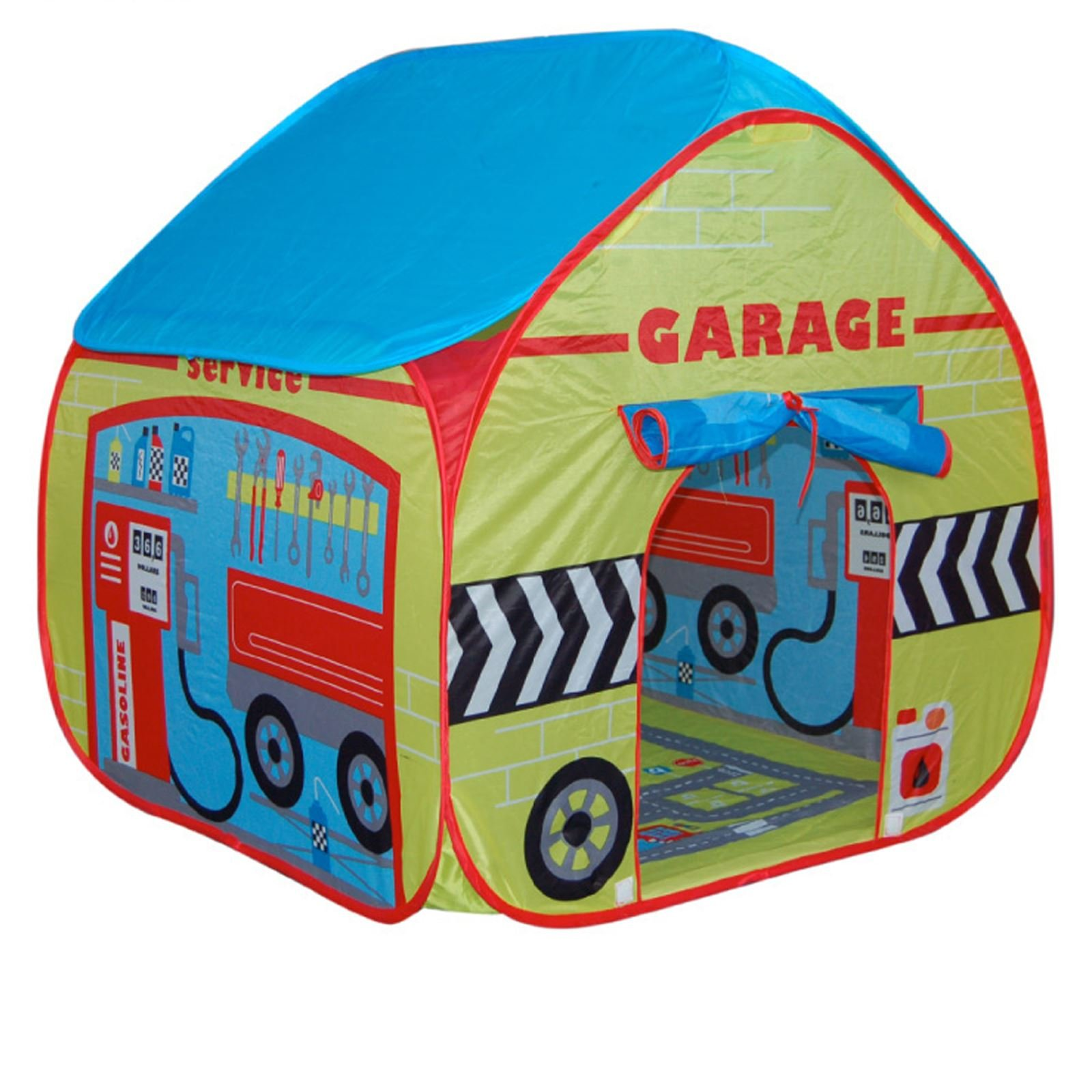 Childrens Pop Up Play Tent Designed like a Car Garage with a Unique Printed Play Floor : Boys Toy Play Tent / Playhouse / Den