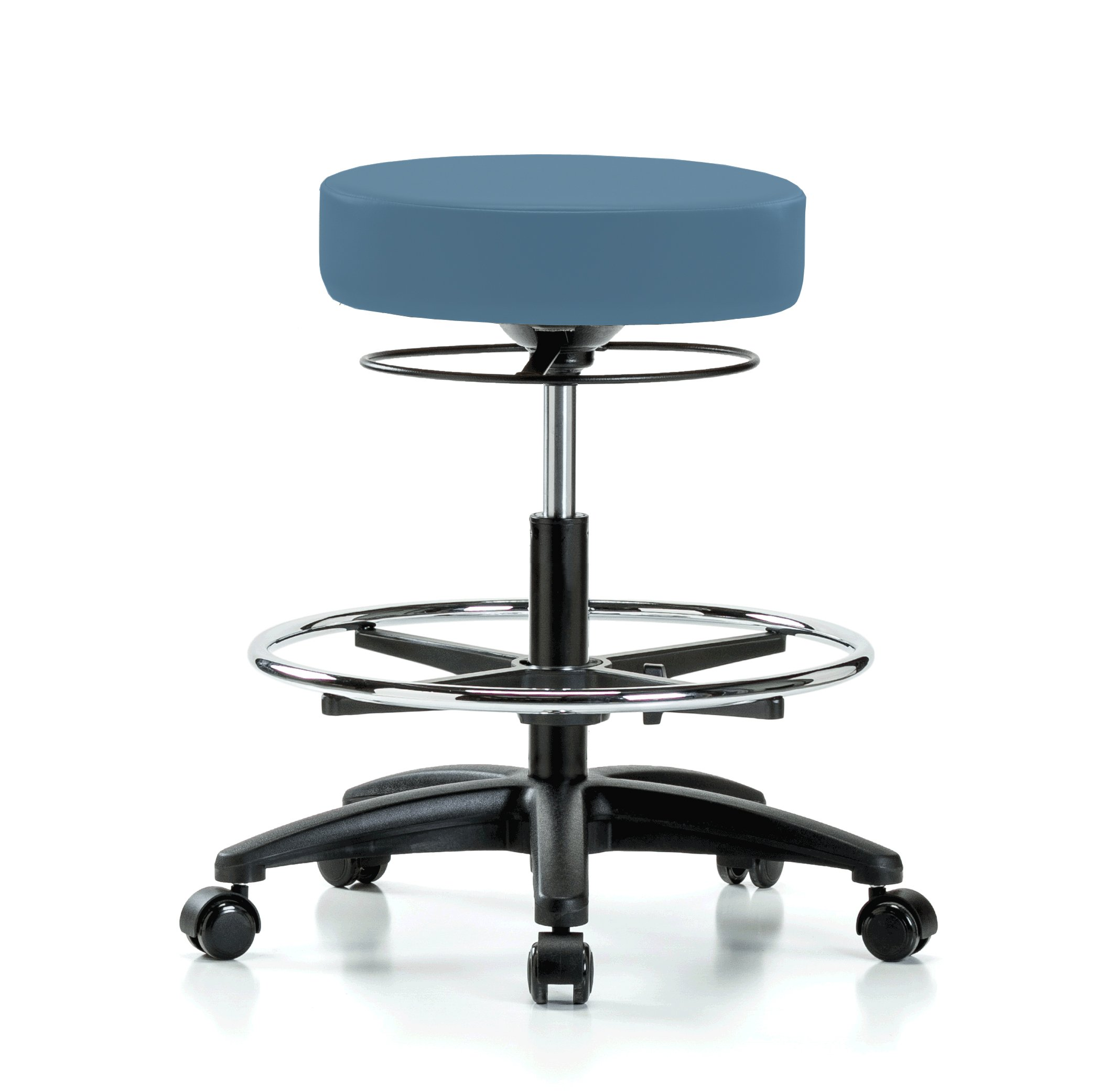 Perch Stella Rolling Adjustable Stool with Footring Medical Salon Spa Massage Tattoo Office 21'' - 28.5'' (Soft Floor Casters/Colonial Blue Vinyl)