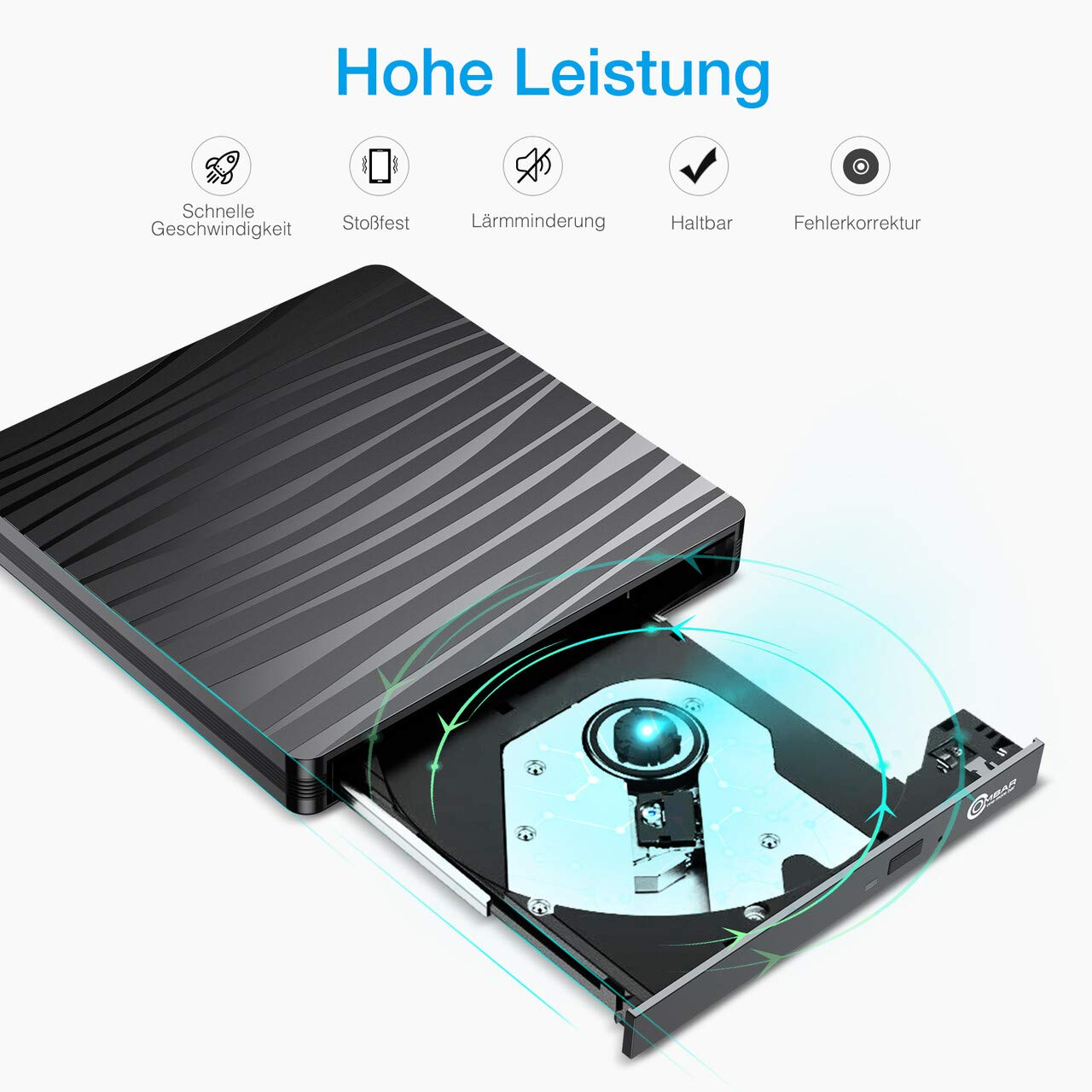 OMBAR Extenes CD/DVD Laufwerk Brenner, 2 in 1 External CD/DVD Drive mit USB 3.0/Type-C für Desktops, Laptops, MacBook, das System eignet Windows XP / 2003 / Vista / 7/8.1/10, Linux, Mac OS