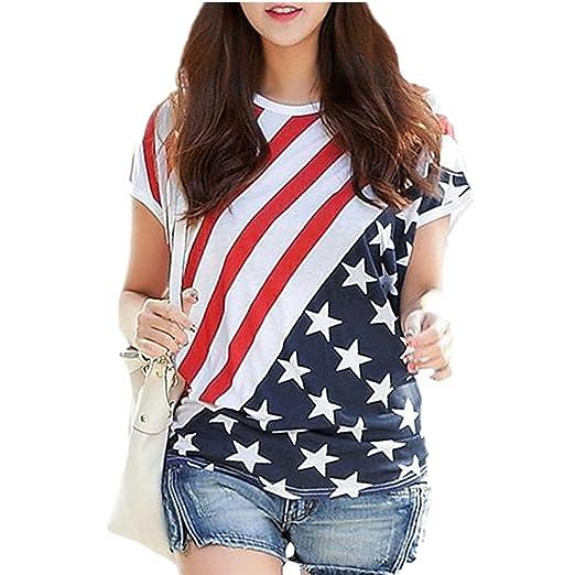 Amazon Com Yiluweinir Women S American Flag Plus Size Blouses July