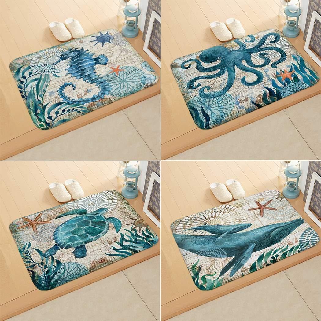 Floor Mat Print Octopus Door Mat with Hippocampus Pattern Bedroom Bathroom Home Sea Turtle Pattern Absorbent Non-Slip Carpet Mat Area Rugs (1)