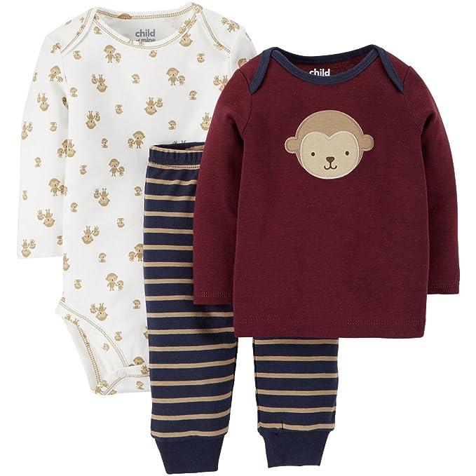 496d26eff Amazon.com: Carter's Child of Mine Monkey Baby Boys 3 Piece Pants ...