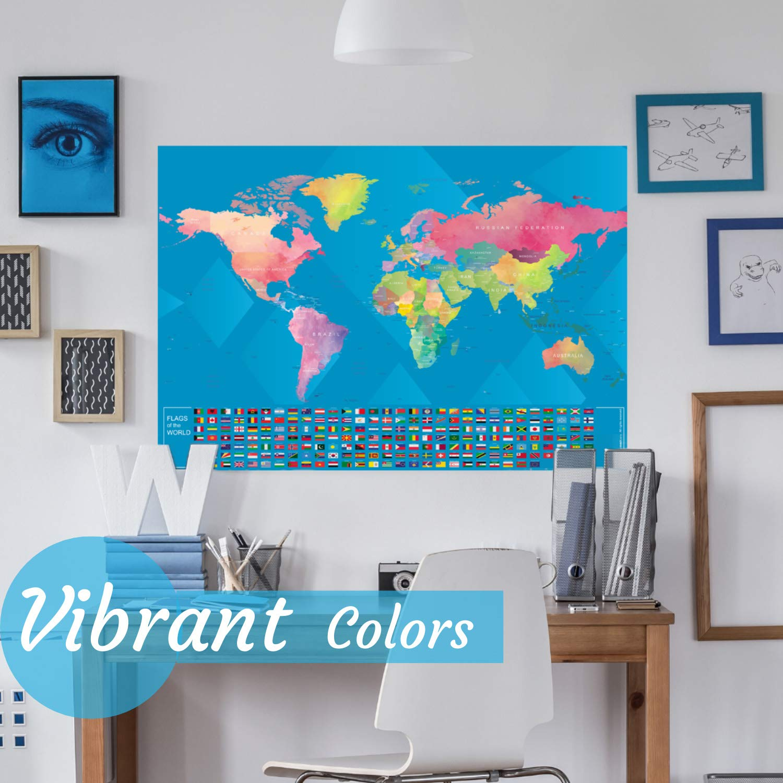 41 X 61 cm Innobeta Mapa Mundi Rascar Plateado Mapa del Mundo para Marcar Viajes con Banderas en Ingl/és World Map Scratch