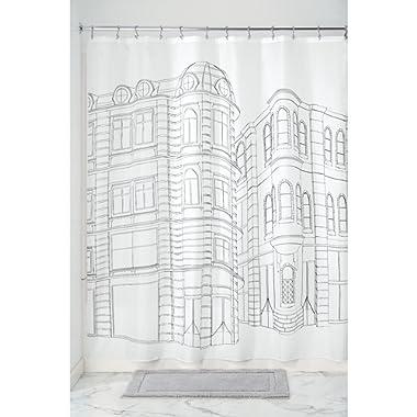 InterDesign Cityscape Soft Fabric Shower Curtain, 72  x 72 , Black/White