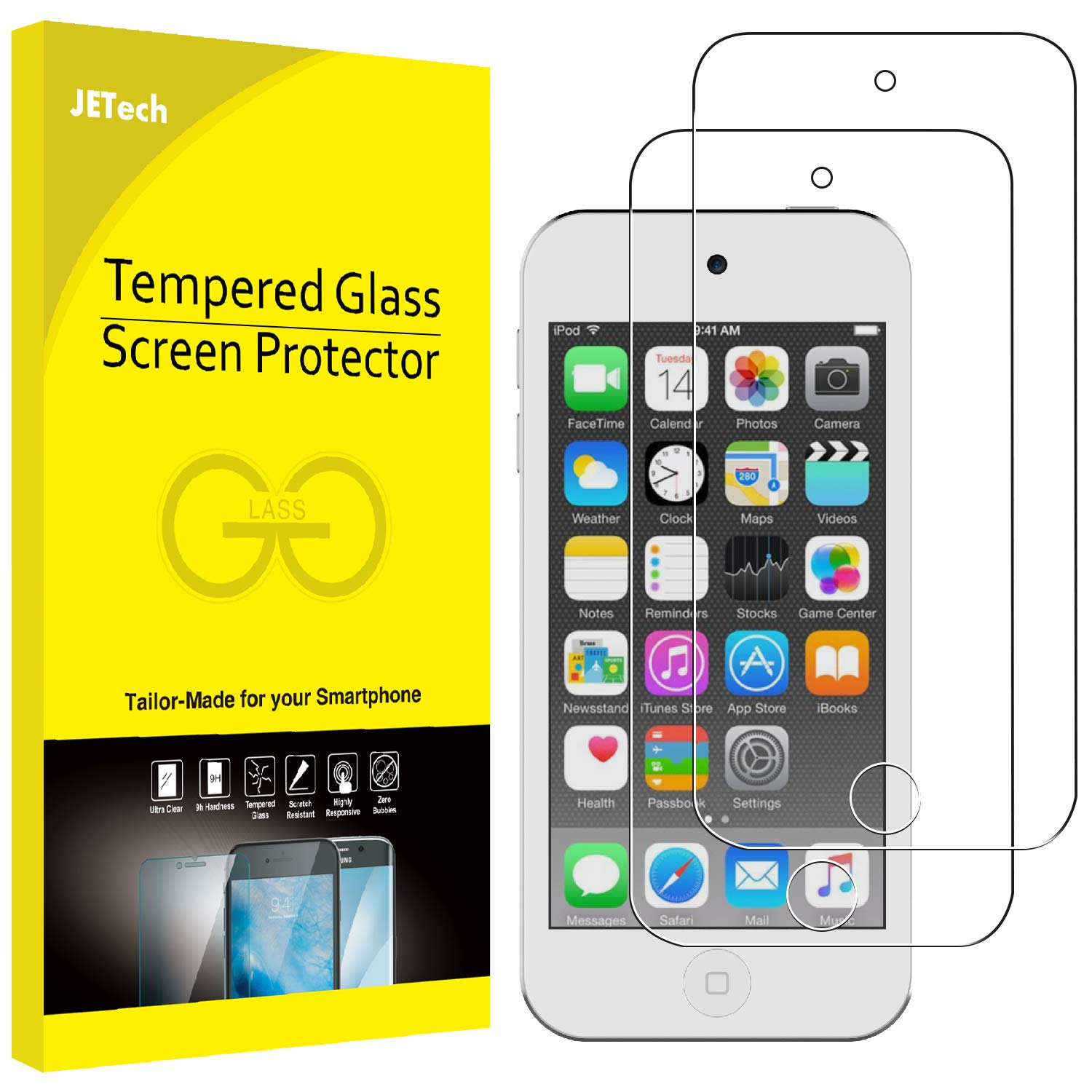 JETech Screen Protector for Apple iPod Touch (6th and 5th Generation) Tempered Glass Film, 2-Pack 1014