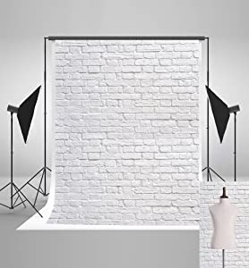5x7ft(150x220cm) White Brick Wall Backdrops Photography Brick Floor Photo Studio Backgrounds for Christmas