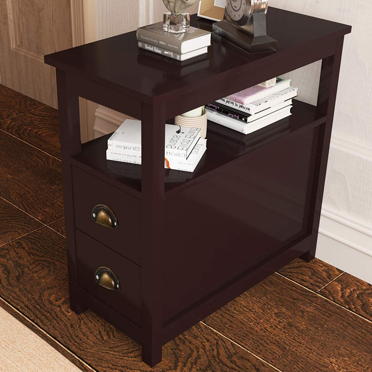 SPCYS-ST003-CA Brown SogesPower Bedside Table End Table Night Stand Nightstand Side Table Coffee Table Sofa Table Console Table with 2 Storage Drawers /& Shelf for Bedroom