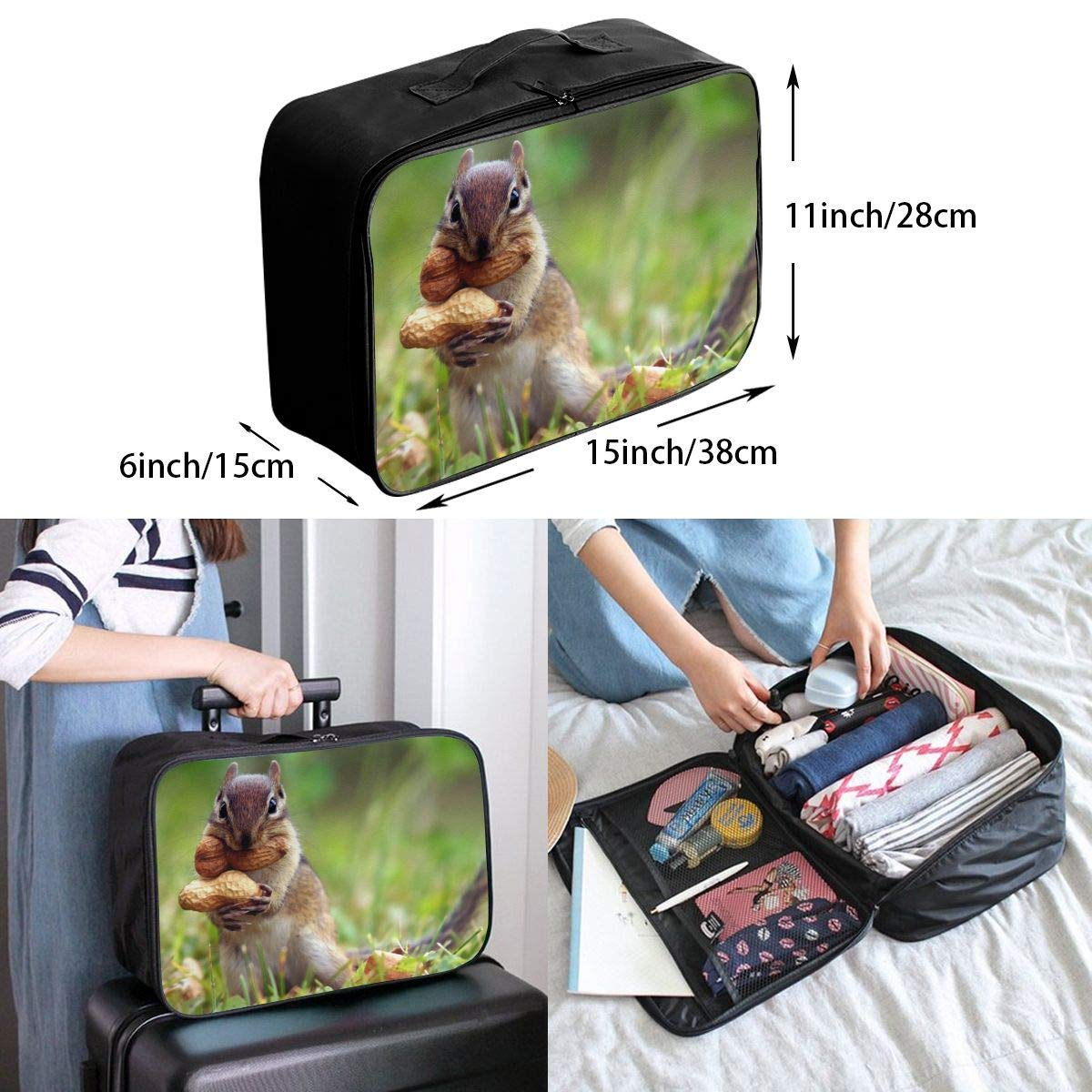Lightweight Large Capacity Portable Luggage Bag Funny Squirrel Eat Peanuts Travel Duffel Bag Backpack