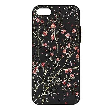 Schutzhülle für iPhone 5, iPhone SE Silikon Case, Rosa Schleife Ulta Slim Dünn Schwarz Silikon Backcover Blume Muster Handy H