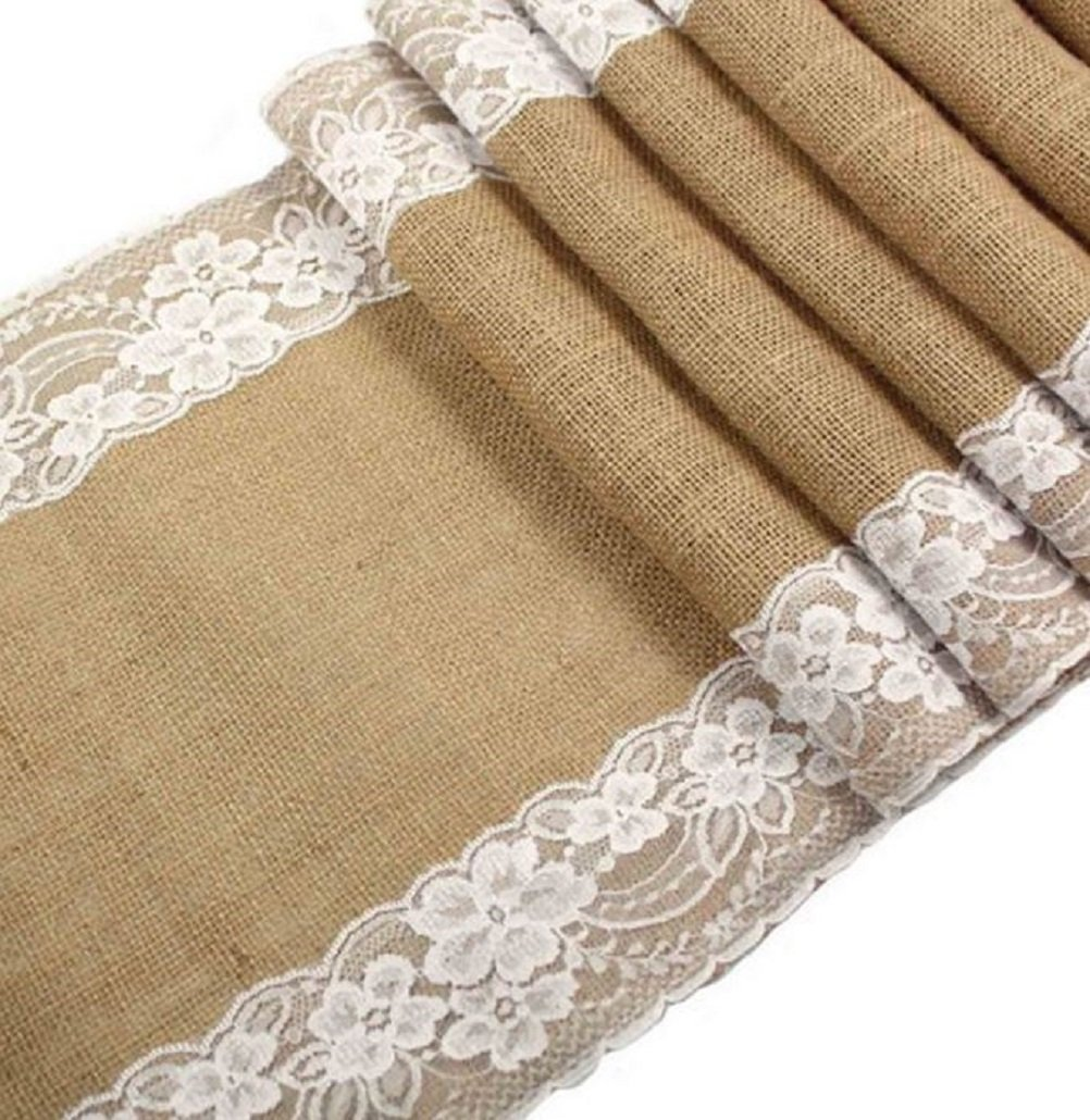 Jolly Jon Burlap Table Runner with White Lace - Wedding Reception Vintage Rustic Decor – 12'' x 108'' Long Dining Table Decoration - Bridal Baby Shower & Everyday Use by Jolly Jon