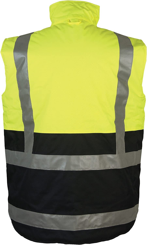 Hi Viz Reversible Bodywarmer Waterproof Jacket Warm Mens Coat Workwear Security