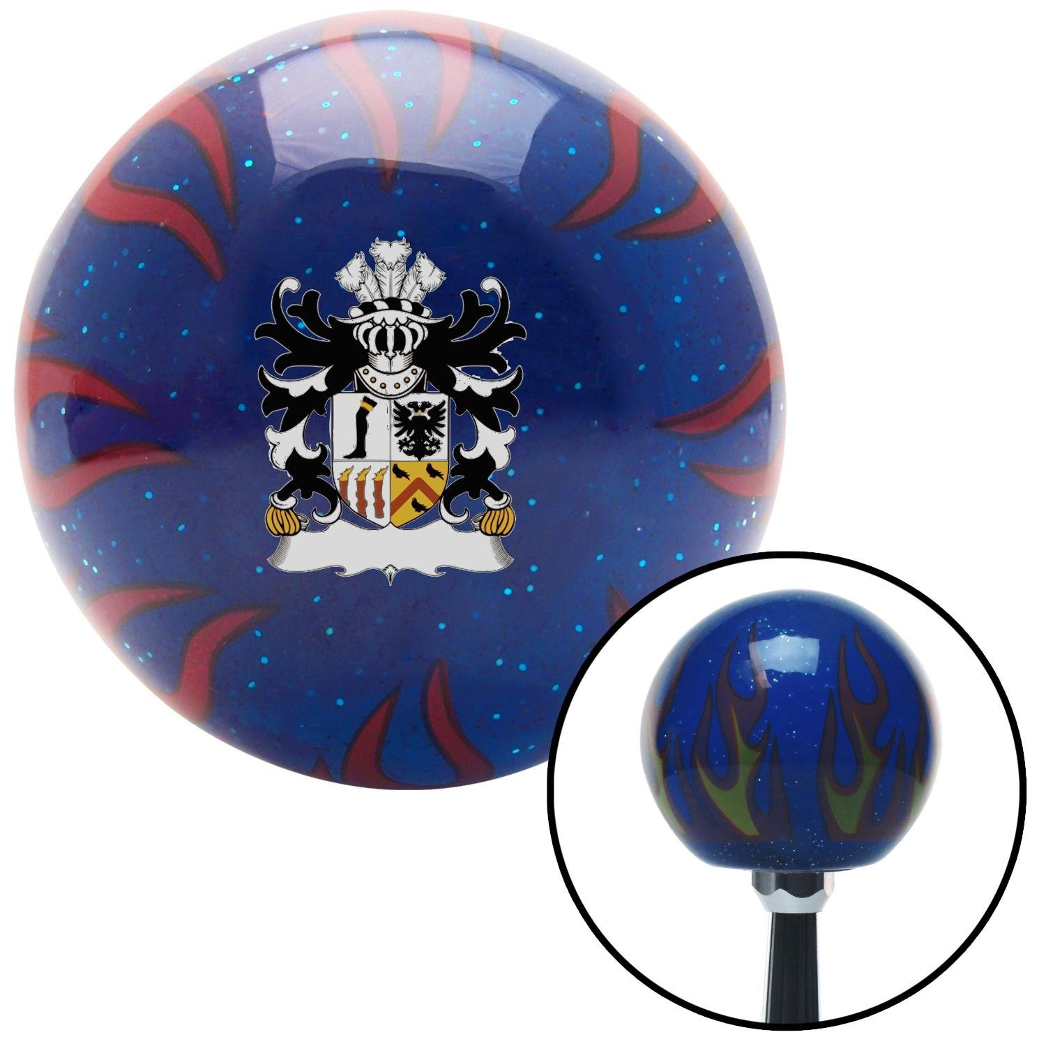 Roystonlodge Coat of Arms American Shifter 251778 Blue Flame Metal Flake Shift Knob with M16 x 1.5 Insert