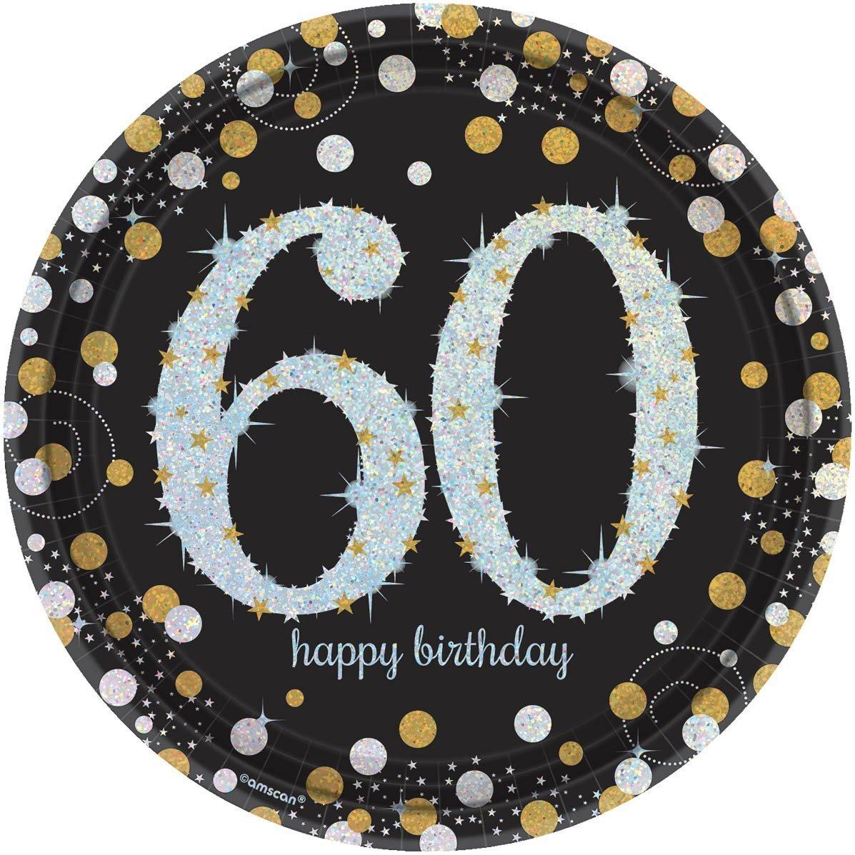 Amscan 551547 Sparkling Celebration 60 Round Prismatic Plates Party Supplies 9 Multicolor