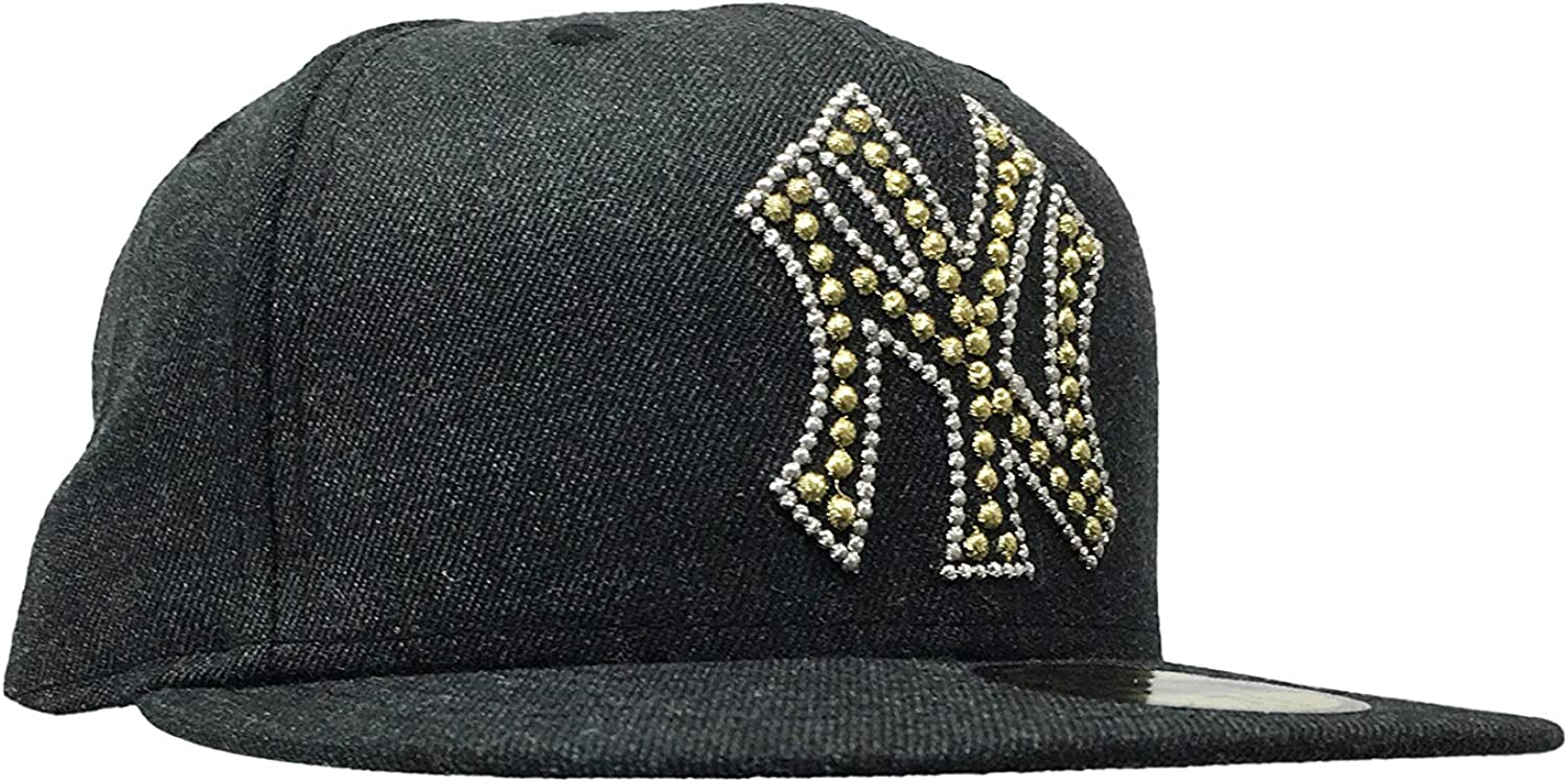 New Era Mens New York Yankees MLB Authentic Collection 59FIFTY Cap 7 1//8, Black//Gold Beaded