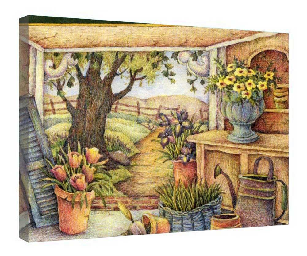 ... pequeño país cobertizo de jardín - Madera Junta Antecedentes lienzo para listo para colgar para hogar y oficina decoración - 24
