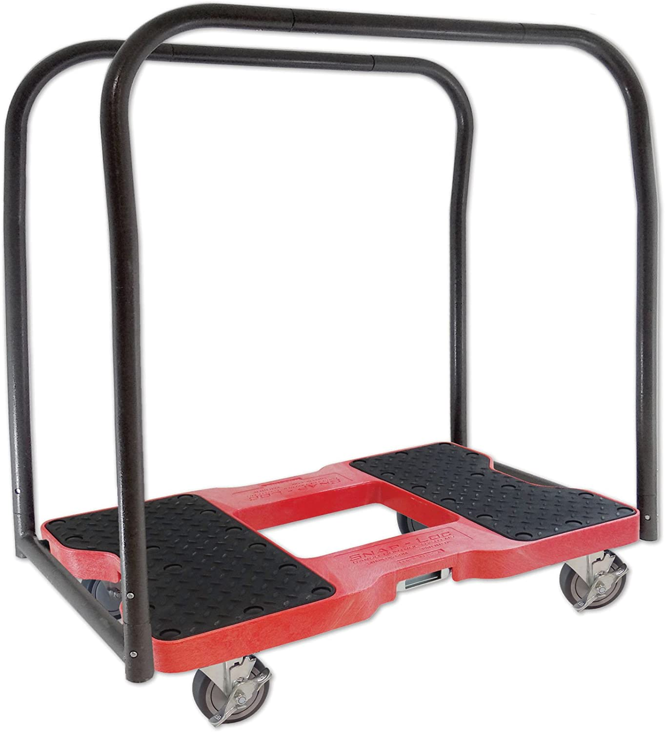 SNAP-LOC 1500 LB Panel CART Dolly RED with Steel Frame, 4 inch Casters, Panel Bars and Optional E-Strap Attachment