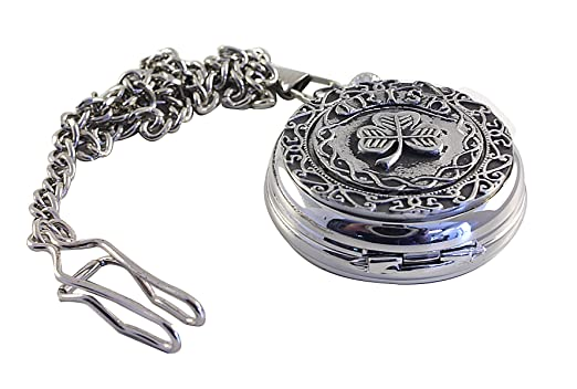 8695fee2d Image Unavailable. Image not available for. Color: Mullingar Pewter Pocket  Watch Celtic Irish Shamrock Mechanical