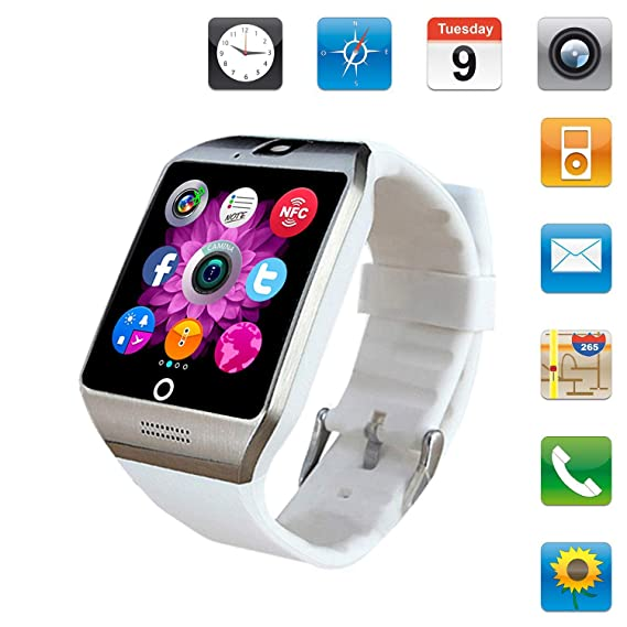 Smartwatch Sim Card Camera for Men Women Kids - Bluetooth Smart Watches Android Cell Phone Watch Card SD with Pedometer Music Player (White1)