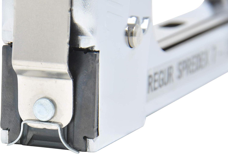 Grobkorn- und PVC-Ummantelungen Starterset inkl Spezial-Tacker f/ür Rohrschalenisolierungen REGUR Spredex 7 Spreiztacker 5000 St/ück Regur 11//10mm Klammern
