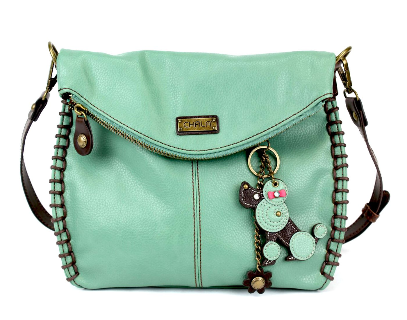 Chala Charming Crossbody Bag With Flap Top | Flap and Zipper Teal Cross-Body Purse or Shoulder Handbag with Fob - Teal - Poodle